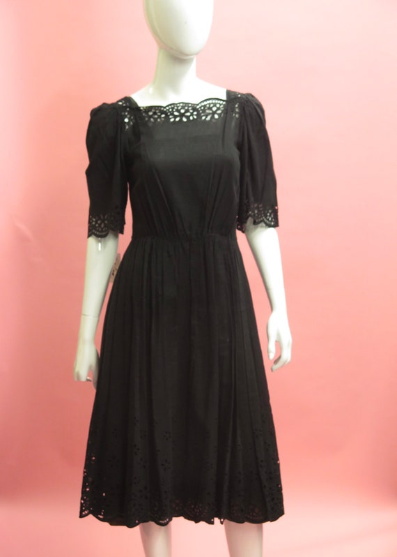 1980's German Cotton Eyelet Praire Dress Sz 38