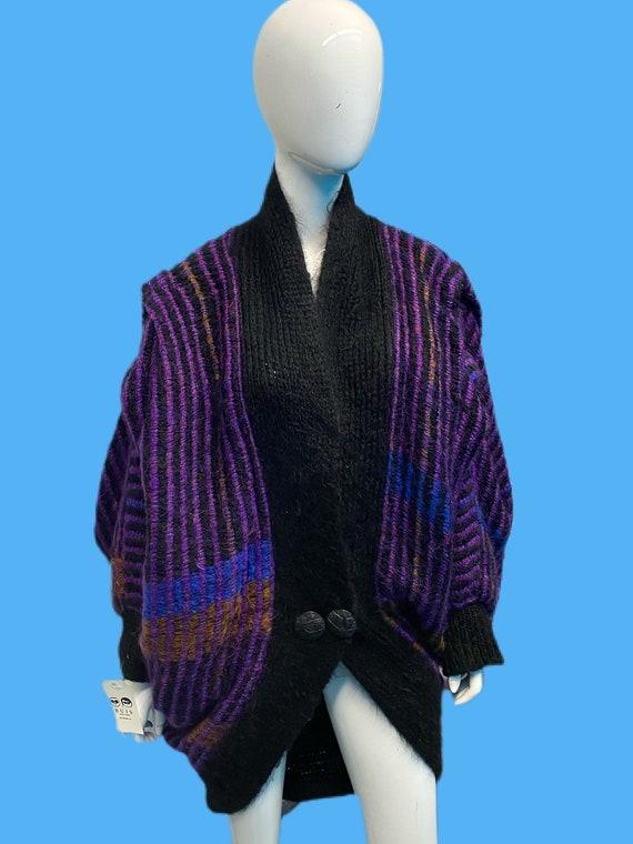 1980's Tissoge Mohair Knit Dolman Cocoon Coat