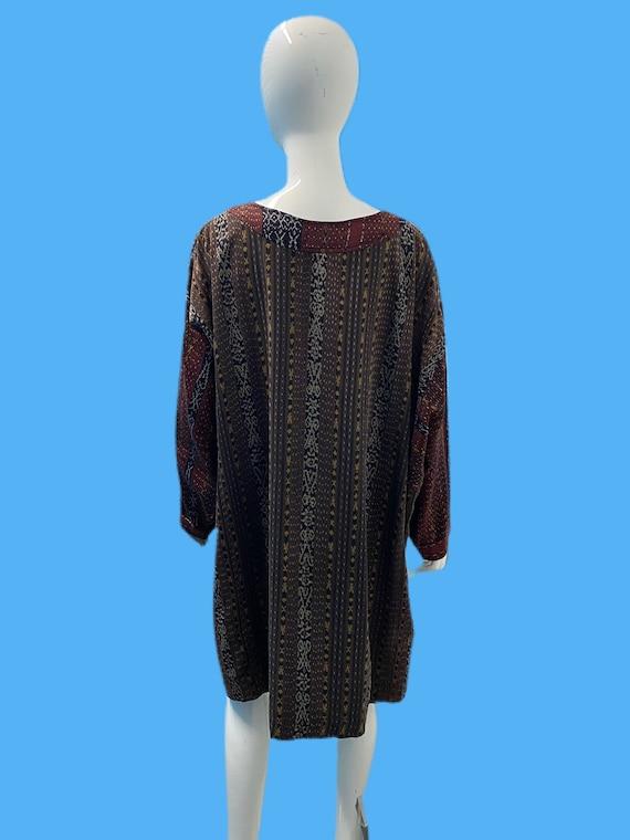 RESERVED 1960's Laise Adzer Ikat Tunic Dress OS - image 3