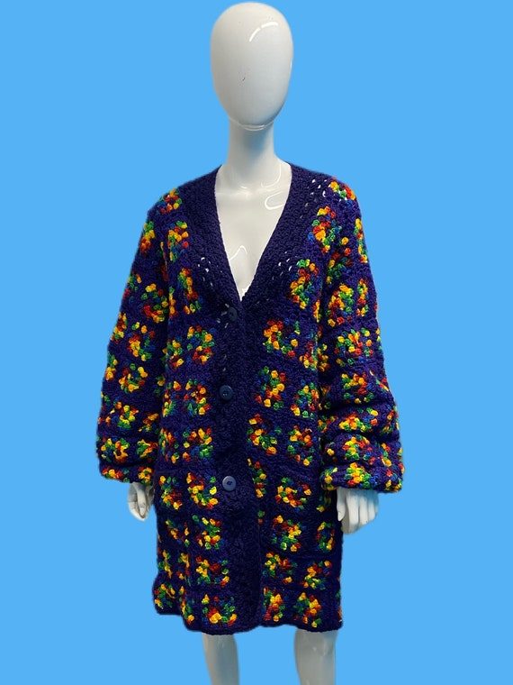 1970's Rainbow Granny Square Crochet Cardigan OS
