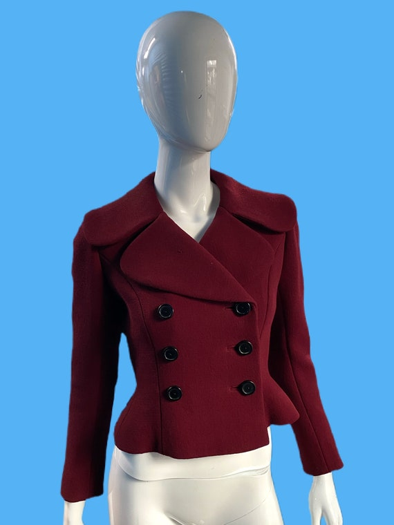 1940's Norman Norell Merlot Wool Cropped Jacket Sz
