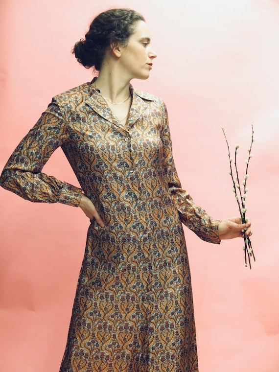 1970's Silk Liberty Floral Duster Dress Sz S
