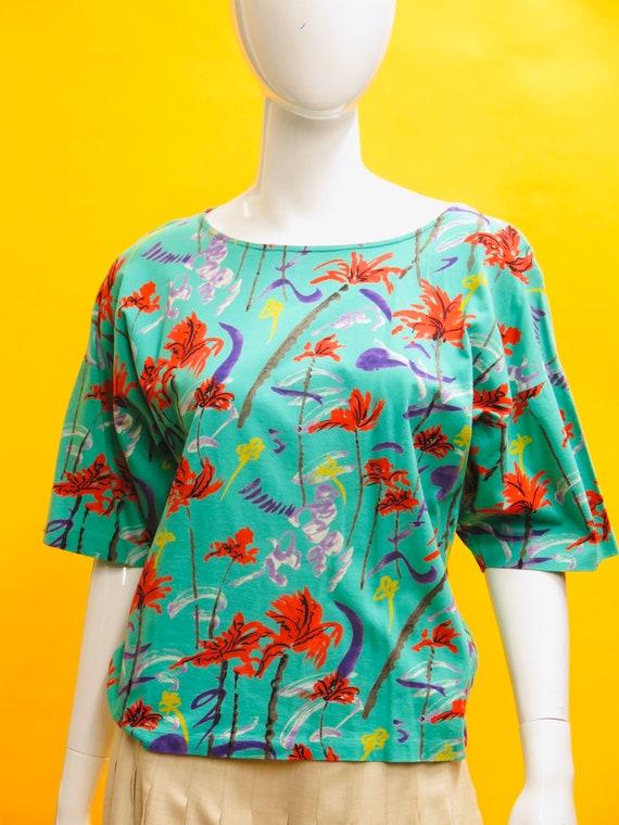1980's Ungaro Ter Floral Cotton Trapeze Tee Sz 12