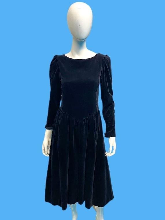 1980's Black Velvet Prairie Dress Sz S/M