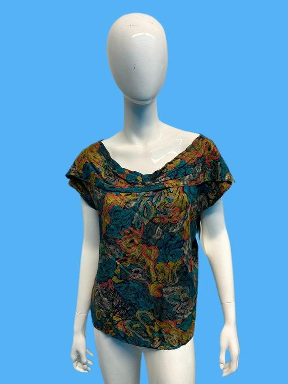 1980's does 1940's Floral Rayon Blouse sz M/L