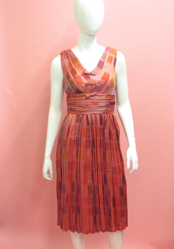 1960's Anne Fogarty Color Burst Silk Satin Pleated