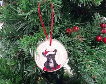 Wood Slice Gift Tag - Christmas Decoration - French Bulldog