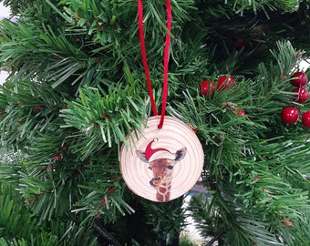 Wood Slice Gift Tag - Christmas Decoration - Giraffe
