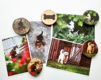 Mini Wood Slice Photo Magnet - Custom Personalised