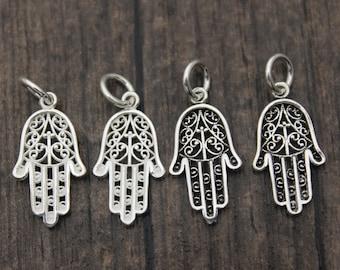 Hand of Fatima Hamas charms Double Sided Filigree Hamsa Hand of Fatima Charms 10 pieces 35x25 Antique Silver Finish 1-6-S