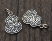 1PC Sterling Silver Gourd Charm,Chinese Fu Charm,Good Fortune Charm,Happiness Charm,Double Sided