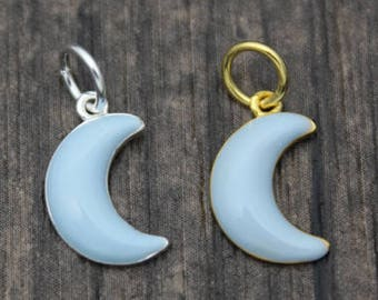 Sterling Silver Moon Charm,Silver Crescent Moon Pendant Charm,Blue Enamel Moon Charm Pendant