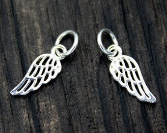 4 Sterling Silver Angel Wing Charm 12mm