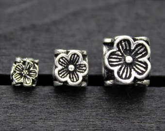 4/5/6/7/8MM Sterling Silver Plum Blossom Beads ,Square Flower Beads,Sterling Silver Flower Spacer Bead,Sterling Silver Flower Beads