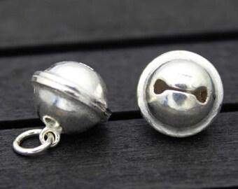 13mm Sterling Silver Bell Charm Pendant,Jingle bell