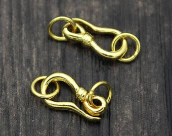 2PCS 24k Gold Plated Sterling Silver S Hook Clasps with jump rings, Sterling Clasp Connector, Hook Clasp, S clasp, necklace clasp