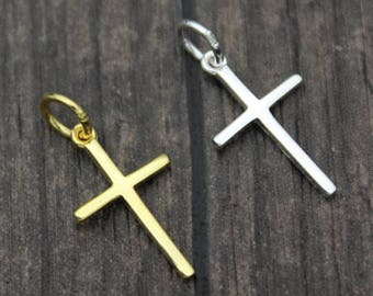 Sterling Silver Cross Charm Pendant,Cross necklace pendant,Cross Jewelry