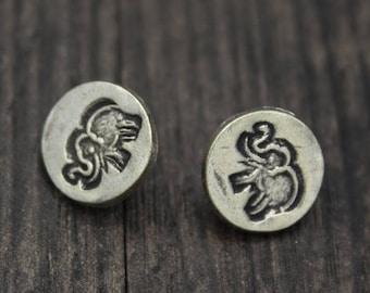 2 Karen Hill Tribe Sterling Silver Elephant Button Clasp,Sterling Silver Button Clasp for wrap bracelet, Bracelet Necklace Button Clasp