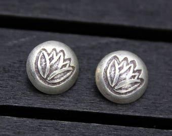 2 Karen Hill Tribe Sterling Silver Lotus Flower Button Clasp,Sterling Silver Button Clasp for wrap bracelet, Bracelet Necklace Button Clasp