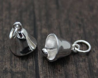1PC Sterling Silver bell charm, Sterling silver bell pendant with Chimer,Christmas bell charm,decoration bell charm