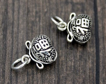 2 Sterling Silver Lucky Charm Pendant, Good Luck Charms, Chinese Good fortune Charm Pendant,Moneybag Charms