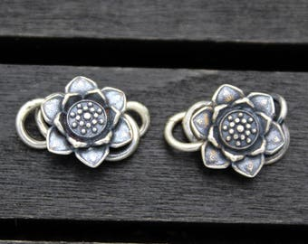 1PC Sterling Silver Lotus S Hook Clasps,Sterling Silver Lotus Flower Hook Clasp, Silver Flower Clasp Connector, S clasp, necklace clasp