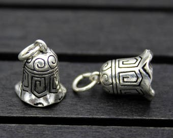 1PC Sterling Silver bell charm, Sterling silver bell pendant (NO SOUNDS)