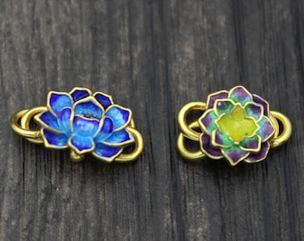 24k Gold Plated Sterling Silver Lotus Flower S Hook Clasps,Blue Enamel Lotus Flower Hook Clasp, Cloisonne Flower Clasp Connector,Hook Clasp