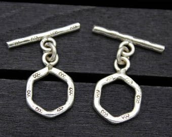 1PC Sterling silver toggle clasps, Hexagon toggle clasp set, bracelet clasp, necklace clasp