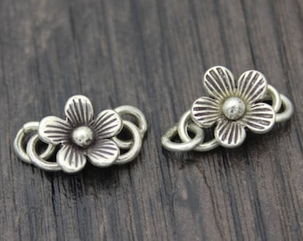 1PC Sterling Silver Flower S Hook Clasps,Sterling Silver Flower Hook Clasp, Silver Flower Clasp Connector,Hook Clasp, S clasp,necklace clasp