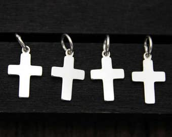 4 Sterling Silver Cross Charm Pendant,Cross necklace pendant,Cross Jewelry