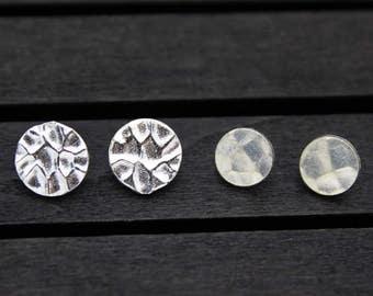 8/10mm Karen Hill Tribe Hammered Sterling Silver Button Clasp,Sterling Silver Button Clasp for wrap bracelet, Bracelet Necklace Button Clasp