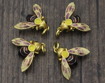 2 Sterling Silver Bee charms pendants with brown and yellow enamel, Chinese Cloisonne, Bumble bee, Honey bee, Queen Bee Charm