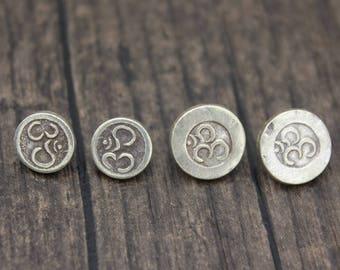 2 Karen Hill Tribe Sterling Silver Yoga OM Button Clasp,Sterling Silver Button Clasp for wrap bracelet, Bracelet Necklace Button Clasp