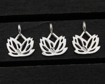 2 sterling silver lotus charm, sterling silver lotus pendant,Sterling Silver lotus flower,yoga jewelry