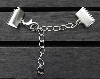 6mm 8mm 10mm Sterling Silver Ribbon Crimp Ends, Crimp Beads,Crimp end clasp,Ribbon end caps,Crimp Ends