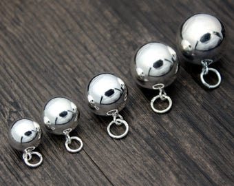 6~20mm Sterling Silver Ball Charms,Sterling Silver Round Ball Charm, Silver Ball Pendant