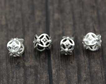 4PCS-6MM Sterling Silver Flower Beads,Sterling Silver Spacer Beads,Silver Hollow Beads,Silver Large Hole Beads