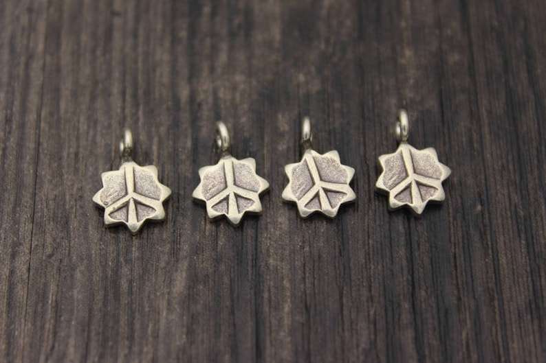 4 Karen Hill Tribe Sterling Silver Peace Charm,Sterling Silver Peace Sign,Peace Symbol Silver round disc charm,Silver Star of David