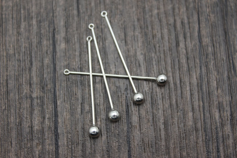 4 Sterling Silver Ball Charms,35mm Silver Ball Tassel Charms for Earrings,Earring Charms,Tassel Jewelry