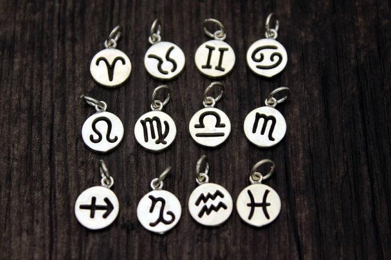Sterling Silver Zodiac Charm,Personalized Gift,Zodiac Symbol Charm,Birthday Charms,Zodiac Round Disc,Add On Charm