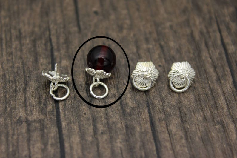 4 Sterling silver bead cap with peg for top drilled beads,For Half drilled pearls and beads
