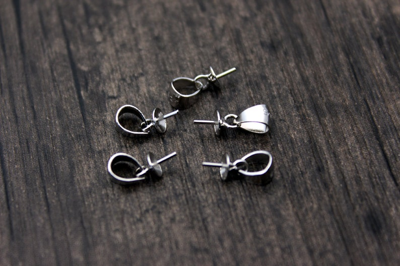 10pcs-Sterling silver bead cap with peg for top drilled beads,For Half drilled pearls and beads