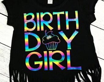 Rainbow Foil Birthday Girl Shirt