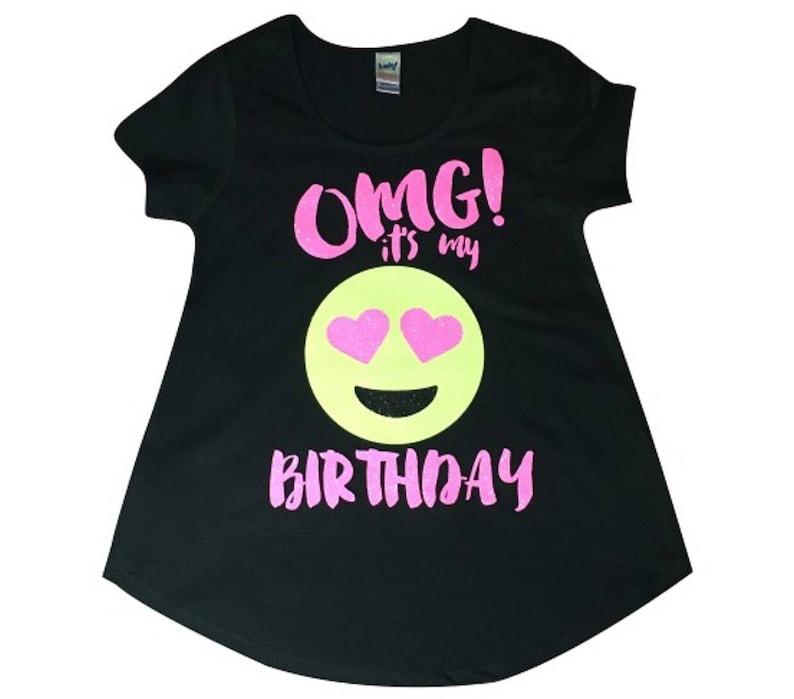 OMG Its My Birthday Emoji Shirt Neon Colors