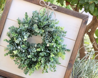 Shiplap Art & Mini Eucalyptus OR Magnolia Wreath - Small 15x15 - Reclaimed Wood - Handmade - Farmhouse - Home Decor - Custom Pieces - Spring