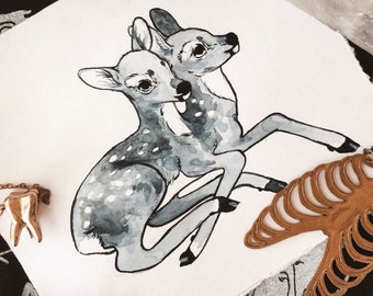 Mini Two-Headed Deer Watercolor Painting - Oddities and Curiousities