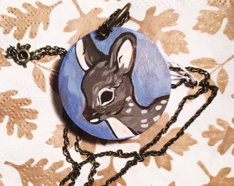 Brown Fawn Circular Wooden Necklace - Handpainted Forest Woodland Jewelry