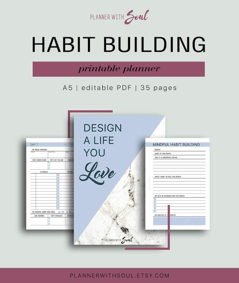 A5 Habit Building Planner - Editable Habit Planning Kit, Healthy Habit,  Habit Tracker, Monthly Overview, 35 pages // Household PDF Printable