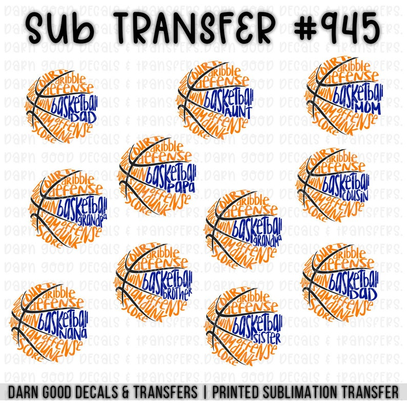 heat press transfer for t-shirts totebags pillowcases /& more basketball mom